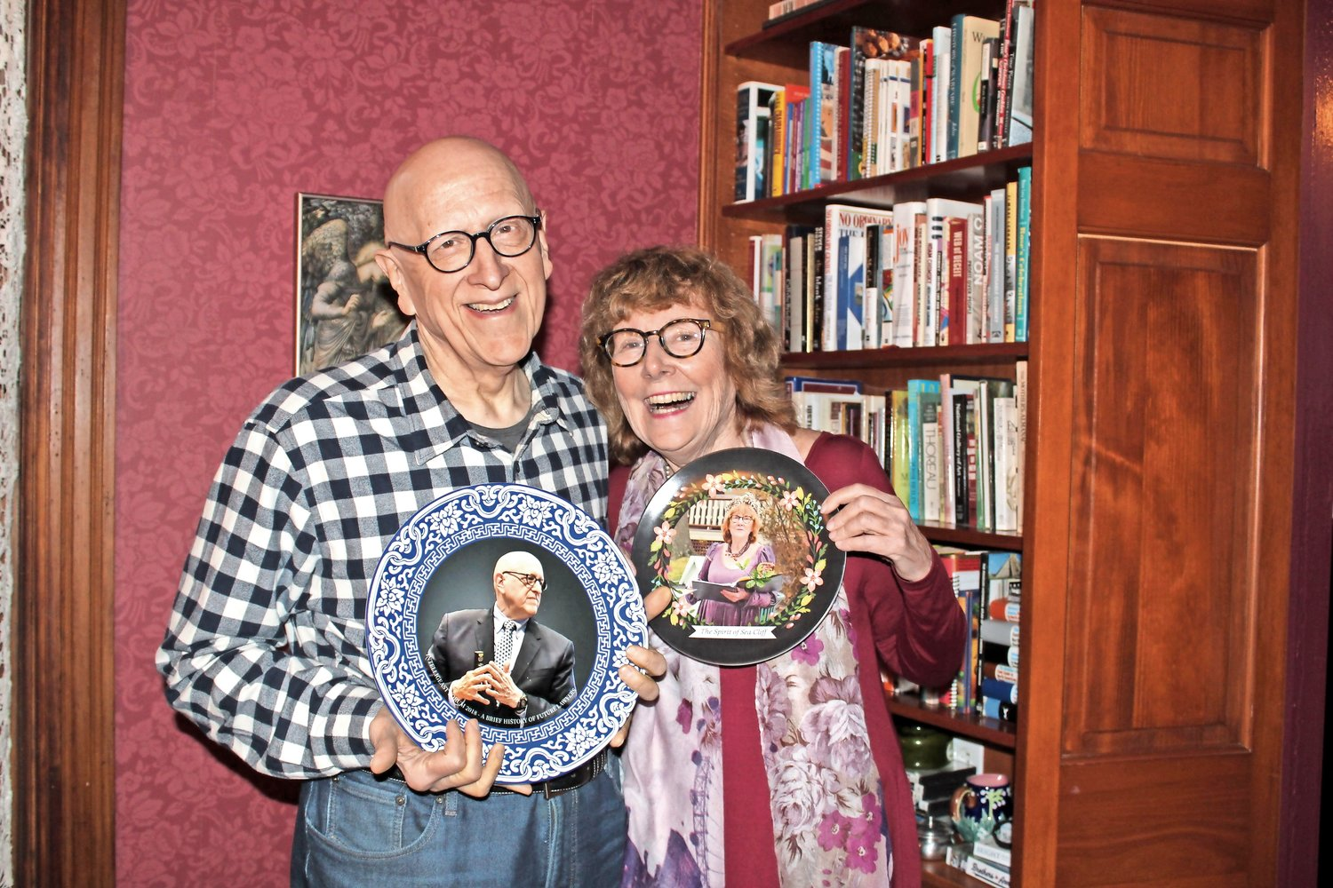 When Dan spoke at a conference in Shanghai in 2018 he was gifted a piece of China displaying his portrait. Shortly after, Ann was gifted her own plate by her friends so the two could match.