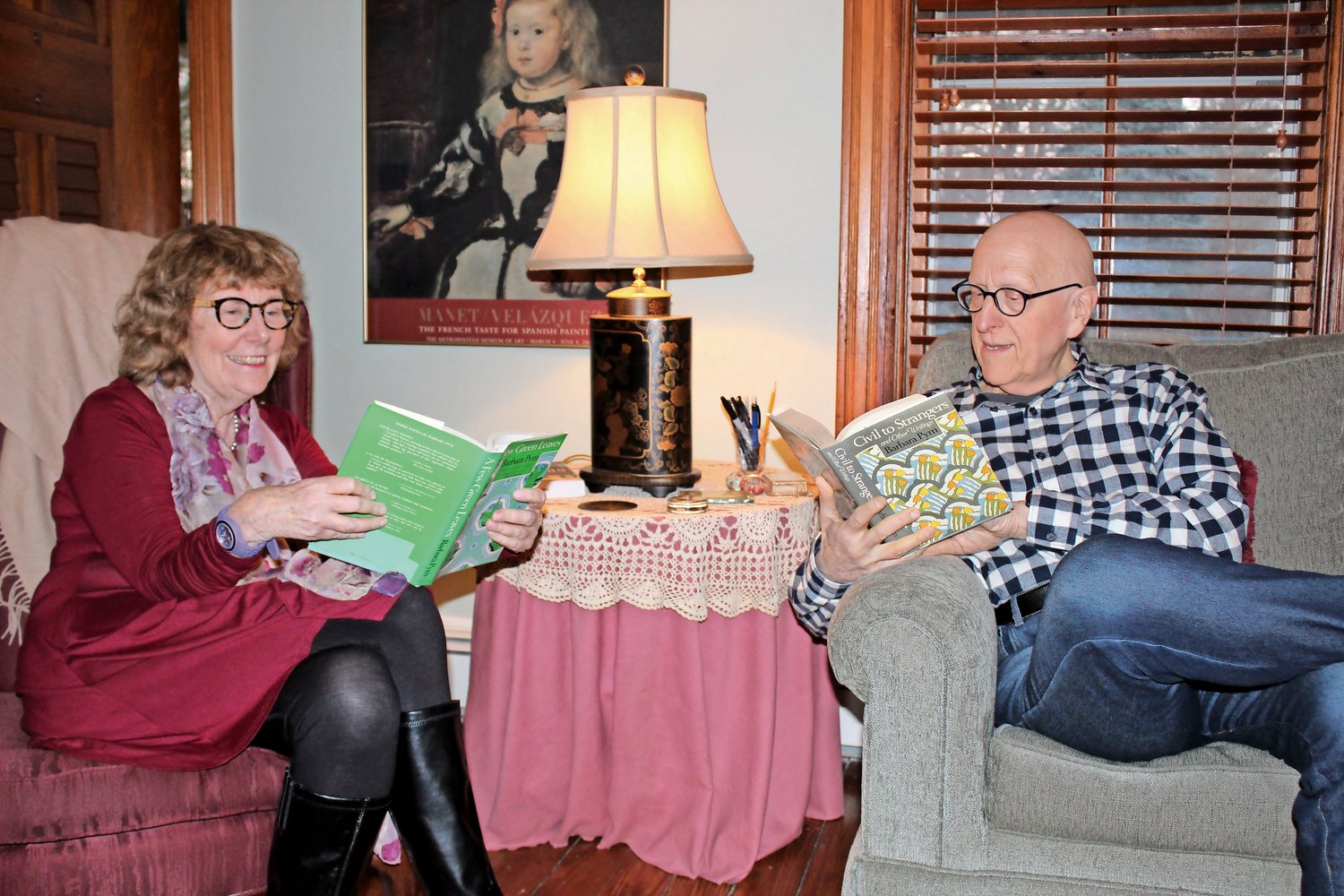 Among the couple's shared interests is a love for British novelist Barbara Pym. Every year they attend meetings of the Barbara Pym Society in Cambridge, Mass. and Oxford, England.