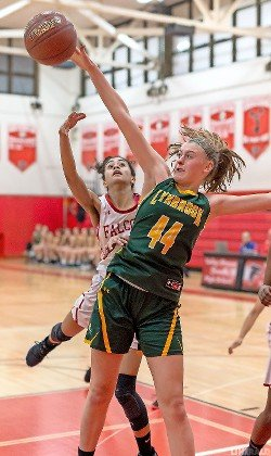 Sophomore Kayla Schwizer had 10 blocked shots Feb. 11 to help the Lady Owls eliminate Valley Stream South, 55-36, in a Class A outbracket playoff game.