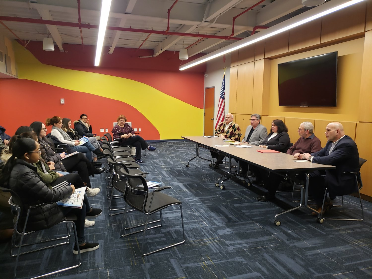 Parents and students from the West Hempstead and Sewanhaka school districts attended a discussion of STEM-related jobs at the West Hempstead Library on Feb. 11.