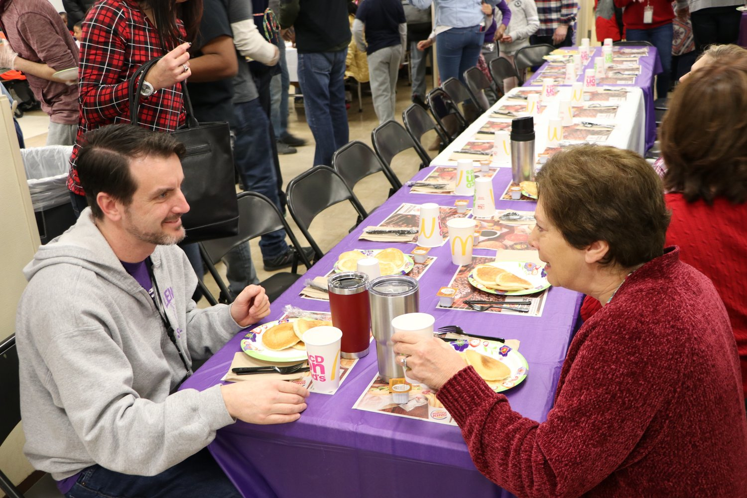 Teachers Tom Duffy and Shelly Stanley, above, enjoyed their breakfast.