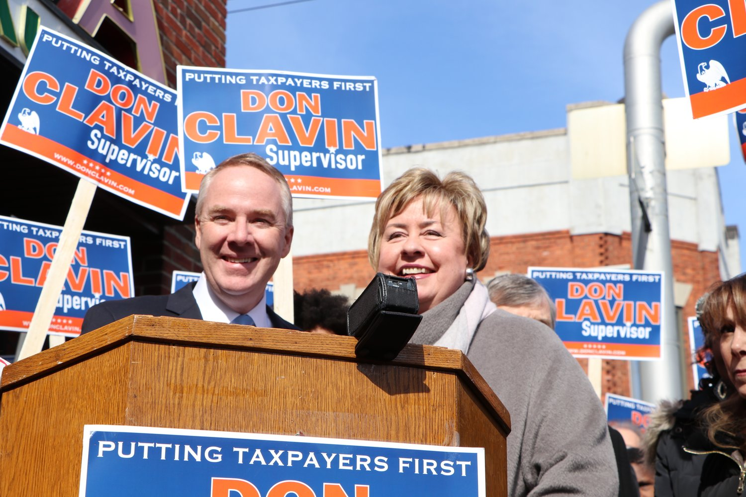 Town of Hempstead Receiver of Taxes Donald Clavin with Kate Murray.