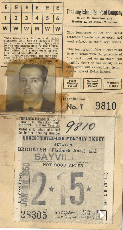 John D. Summerville, who was traveling home to Bohemia, was killed in the wreck. Above, his train ticket.