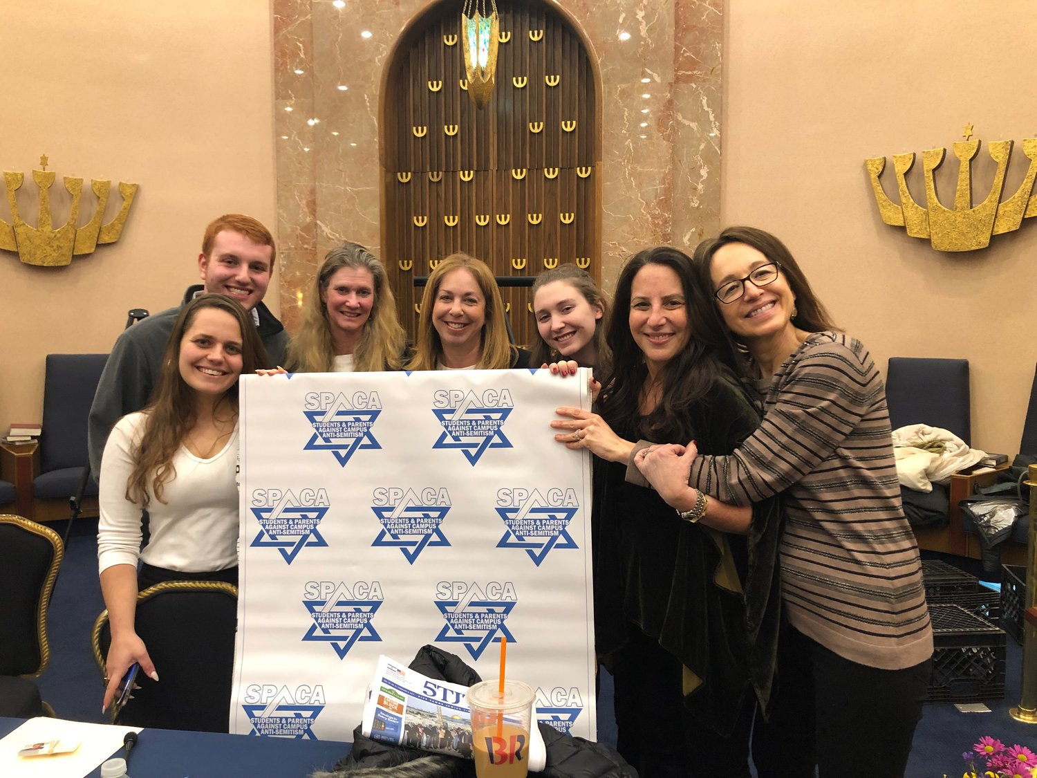 Panelists joined congregants at the Merrick Jewish Centre's recent event on campus anti-Semitism. Ofir Dayan, far left, Joshua Yoni Nierenberg, Tamar Ben-Simon, Sharon Freudenstein, Dalia Zagher, Leetal Ben-Simon and Shoshana Bederman.