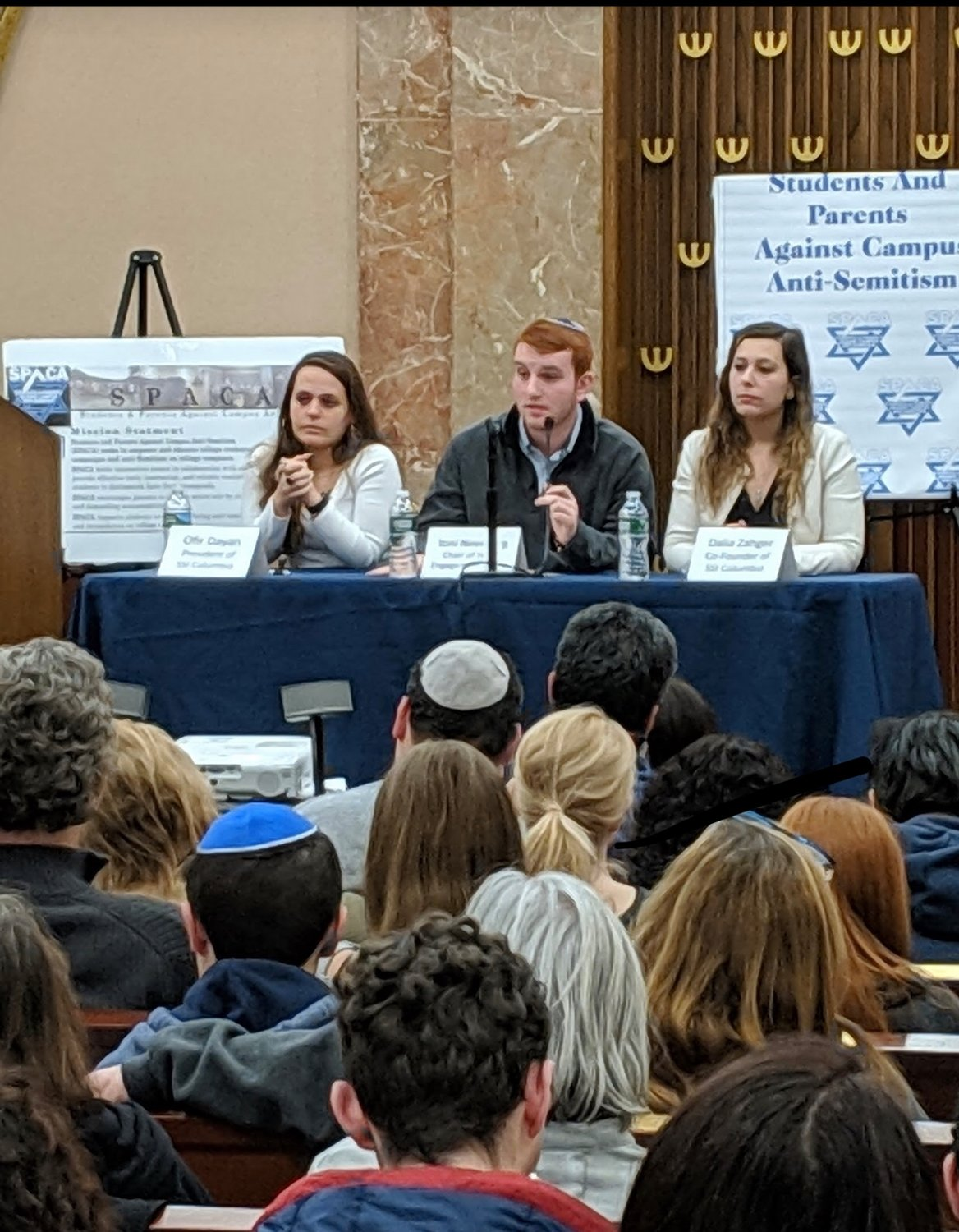 Pro-Israel students addressed a packed congregation at the Merrick Jewish Centre about anti-Semitic bias they see on campus.