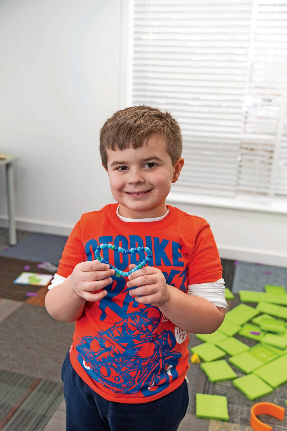 Richard Galati, 5, showed off his heart made of binary code.