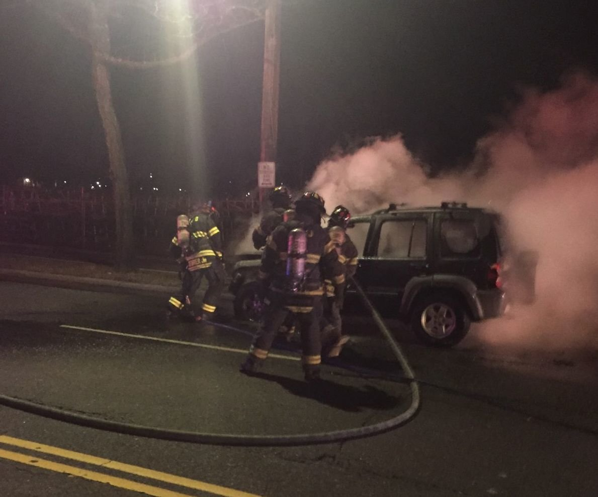 East Meadow firefighters were alerted to a car fire on Merrick Avenue at Charles Lindbergh Blvd on Feb. 19.