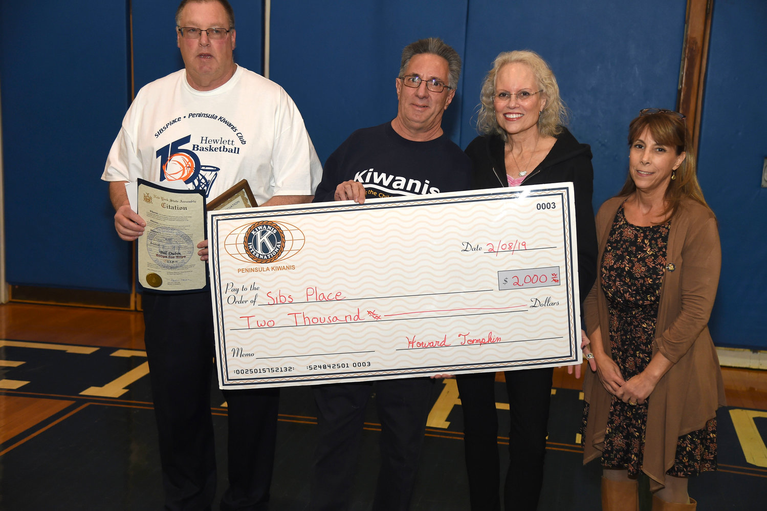 Hopes for Hope has been a winner for Hewlett-based SIBSPlace. From left coach Bill Dubin, Peninsula Kiwanis President Howie Tompkin, SIBSPlace Executive Director Suzanne Kornblatt and State Assemblywoman Melissa Miller.