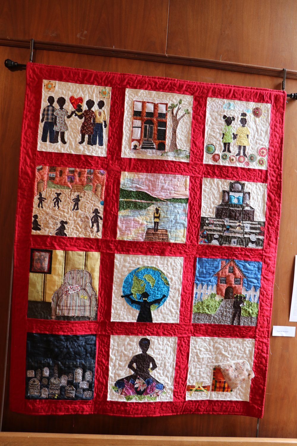 Kim Taylor's autobiographical quilt tells her story from her father giving her to his sister to her picking up quilting as a hobby.