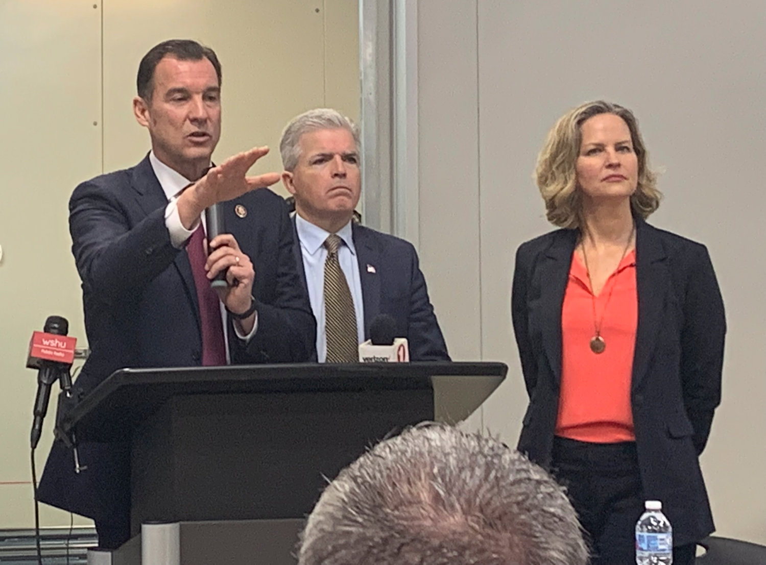 U.S. Rep. Tom Suozzi, left, Suffolk County Executive Steve Bellone and Nassau County Executive Laura Curran introduced a program to streamline job training and apprenticeship resources on Long Island.