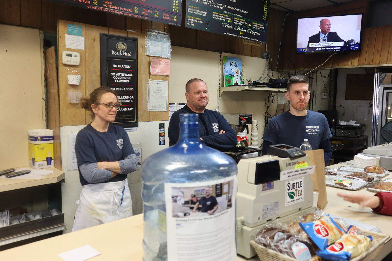 Ward's Deli closed up shop on Feb. 23. Owner Craig Jeffrey, center, with his sister, Tara Polley, and manager David Brown, behind the counter, reflected on decades of Ward's memories.