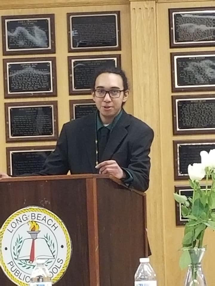 Jaylyn Umana, a senior at Long Beach High School and member of the African-American Club, addressed the crowd at the awards ceremony.