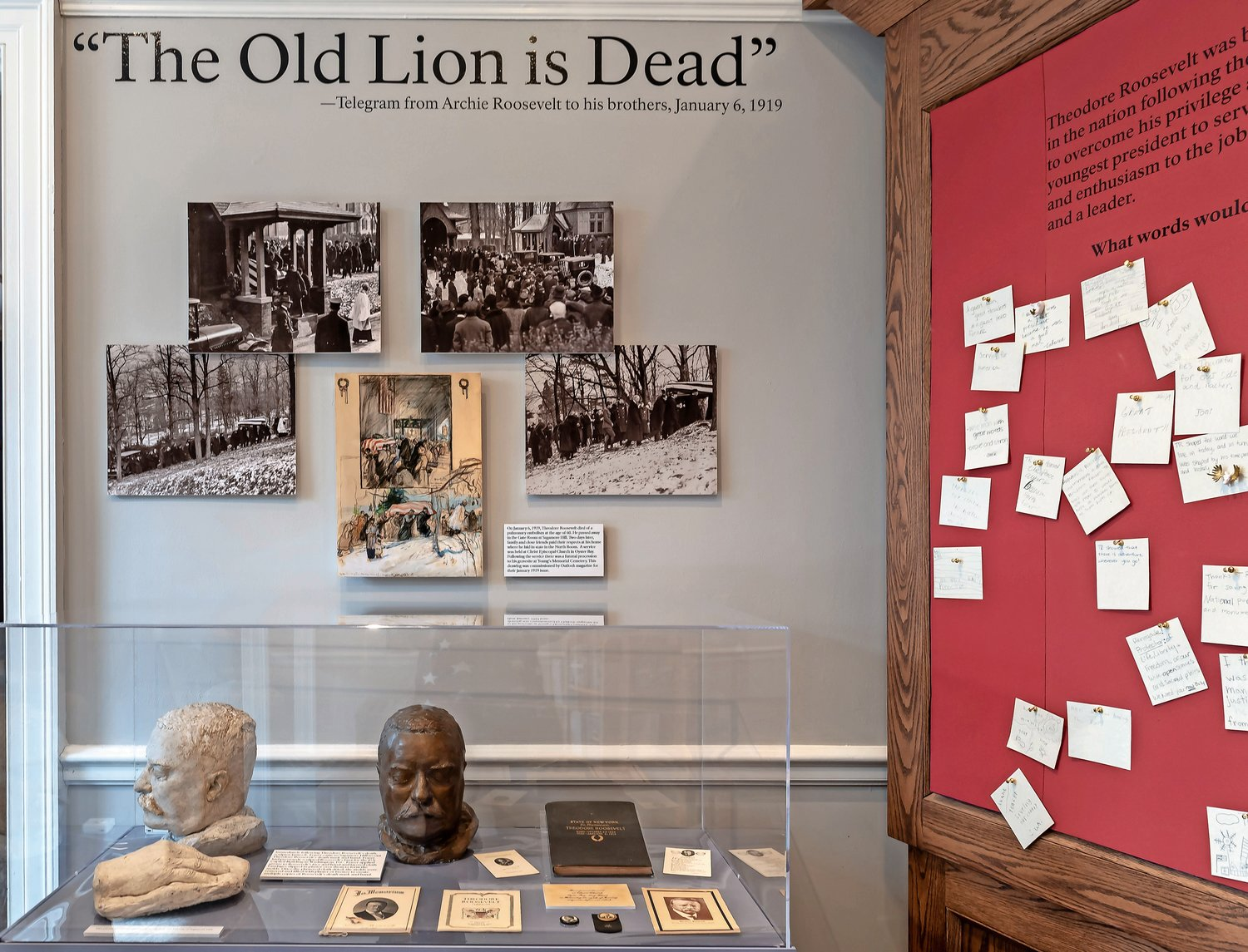 The exhibit includes activities to engage children, including an opportunity to share what they think of the former president and display it on a board.