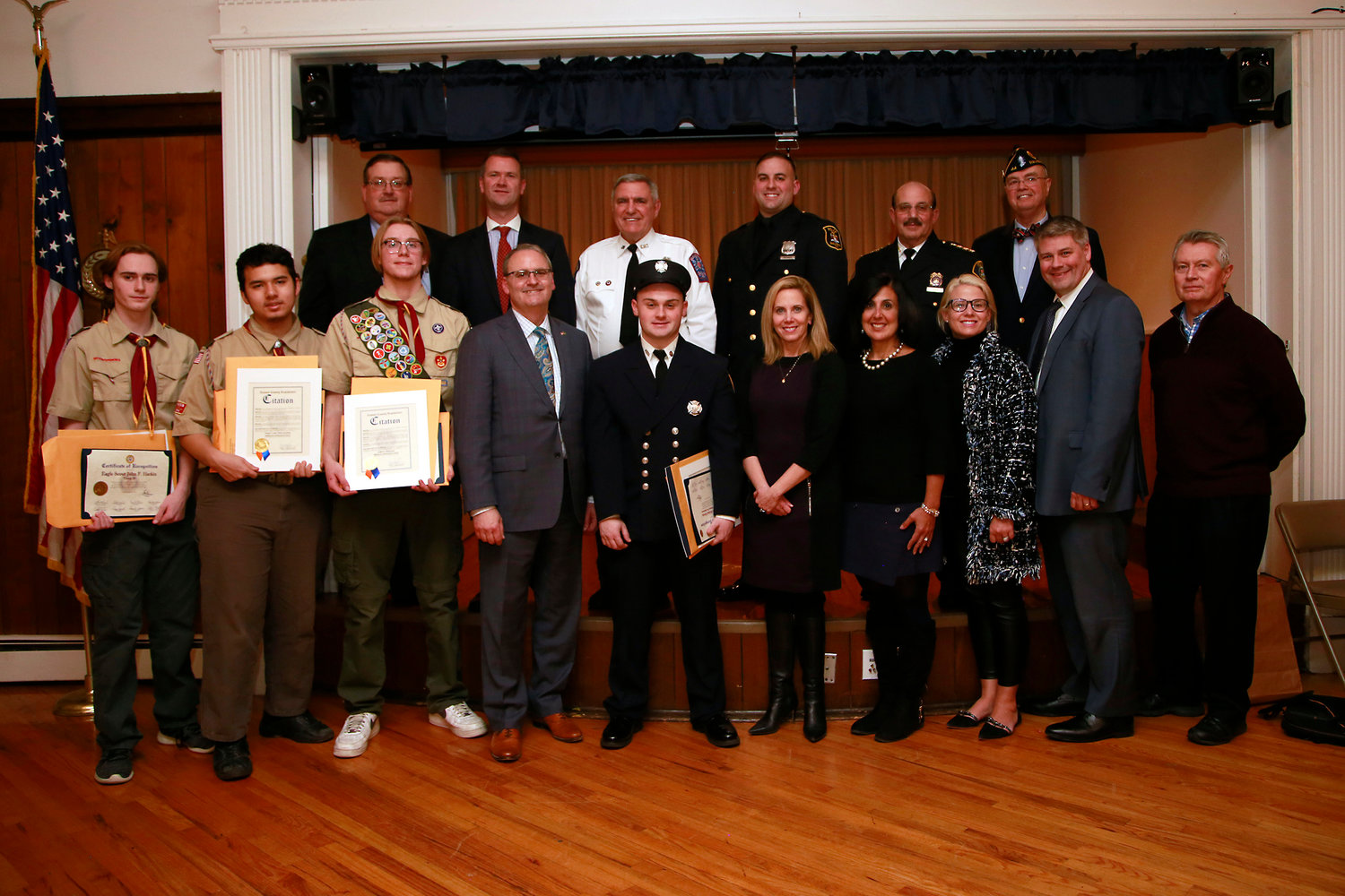 Local elected leaders and town officials joined honorees at Post 44's annual Law & Order Night.