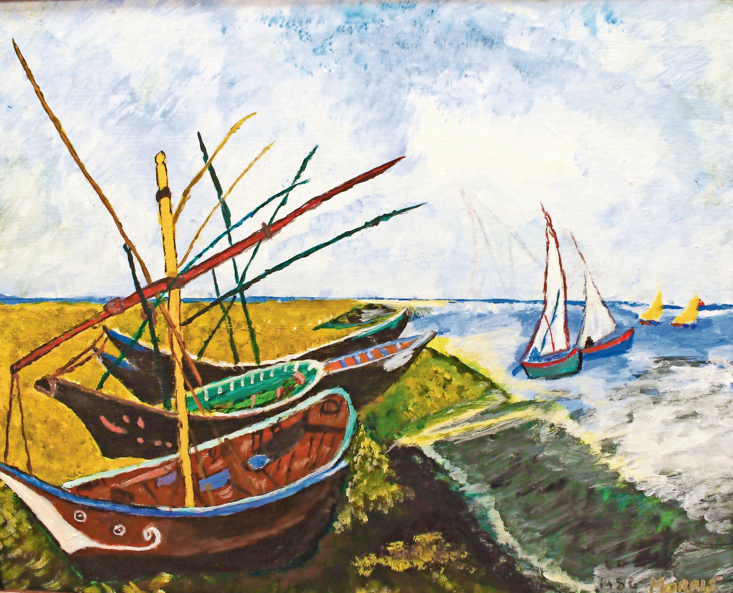 Morris reproduced this picture of boats on a beach in 1986.