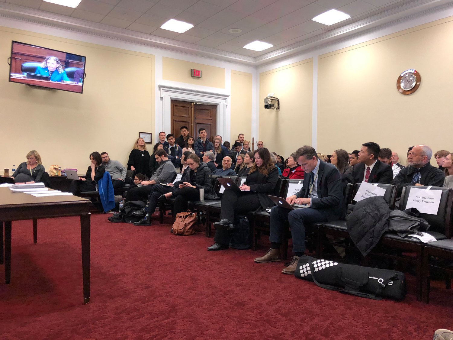 Press row and other observers watched U.S. Rep. Debbie Wasserman Schultz, a Democrat from Florida, question Michael Cohen during the House Oversight and Reform Committee hearing last week.