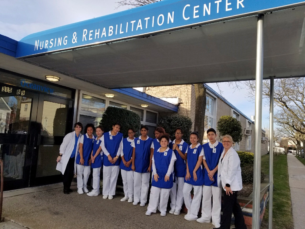 Lawrence High School Barry Tech certified nurse assistant students and teachers after visiting the Oceanview Nursing & Rehabilitation Center in Far Rockaway in January.