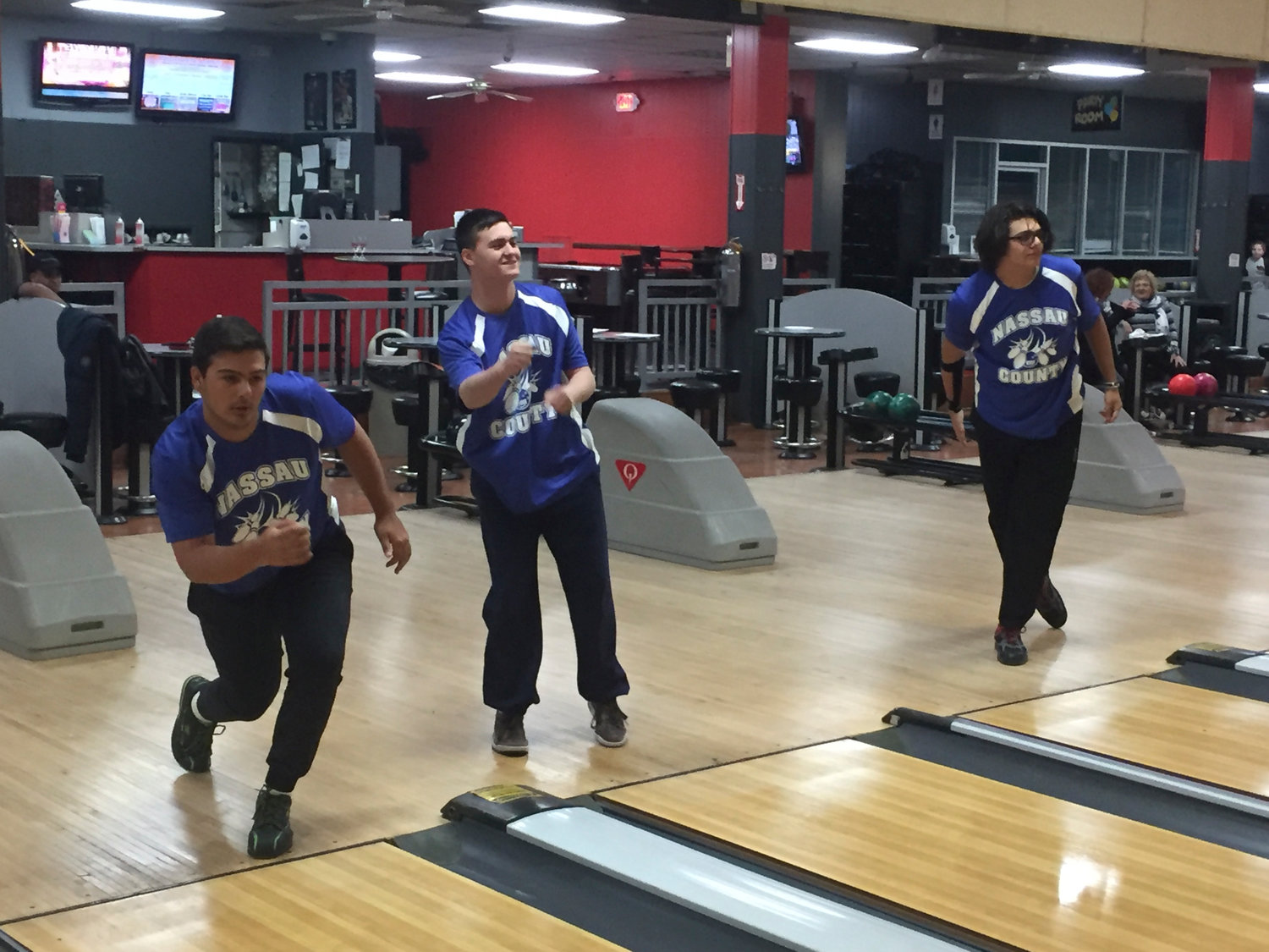 The Five Towns will be well-represented at the New York State High school bowling championships by Hewlett bowlers Dillon Ristano, left, and Zane Lipson, far right, and Lawrence bowler John Loughlin Jr., center.