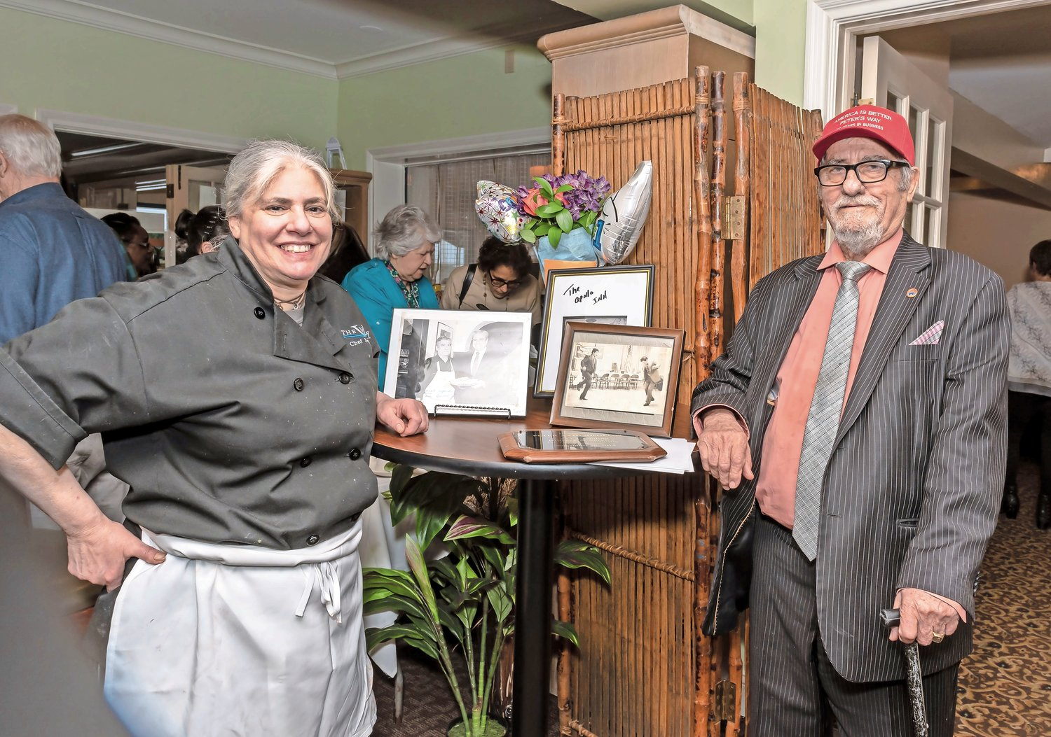 Jeanine DiMenna, the chef and co-owner at The View Grill, and co-owner Peter Antonopoulos, whom she credits with changing her life. A celebration at the restaurant last Sunday marked Antonopoulos's 50 years in business at a variety of Glen Cove eateries.