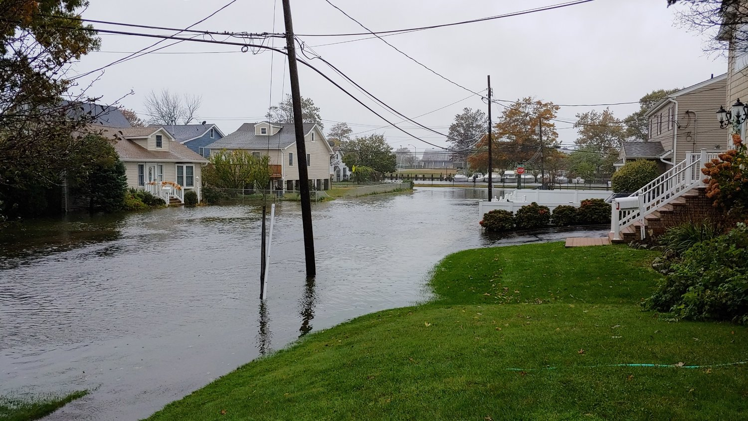 "In 2012, Bellmore's Shore Road had severe flooding after Hurricane Sandy ravaged Long Island. It still has ""chronic"" flooding today, Councilwoman Erin King Sweeney said."