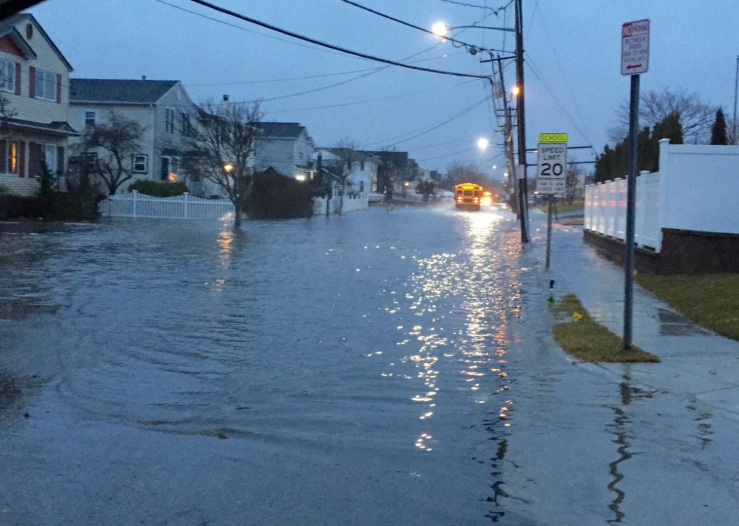 After Hurricane Sandy, Nassau County Legislator Steve Rhoads took this shot of the severe flooding on Shore Road. Water flowed onto the sidewalks and front lawns.