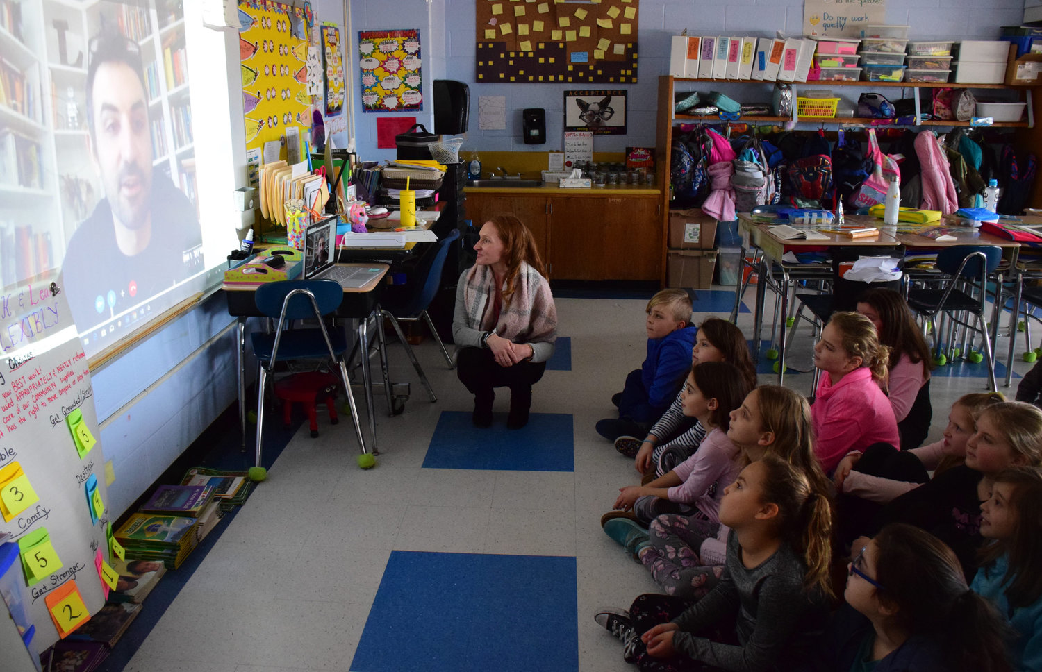 Reading specialist Danielle DiStefano facilitated a Skype session at Seaford Harbor Elementary School with children's author Jarrett Lerner in honor of World Read Aloud Day last month.