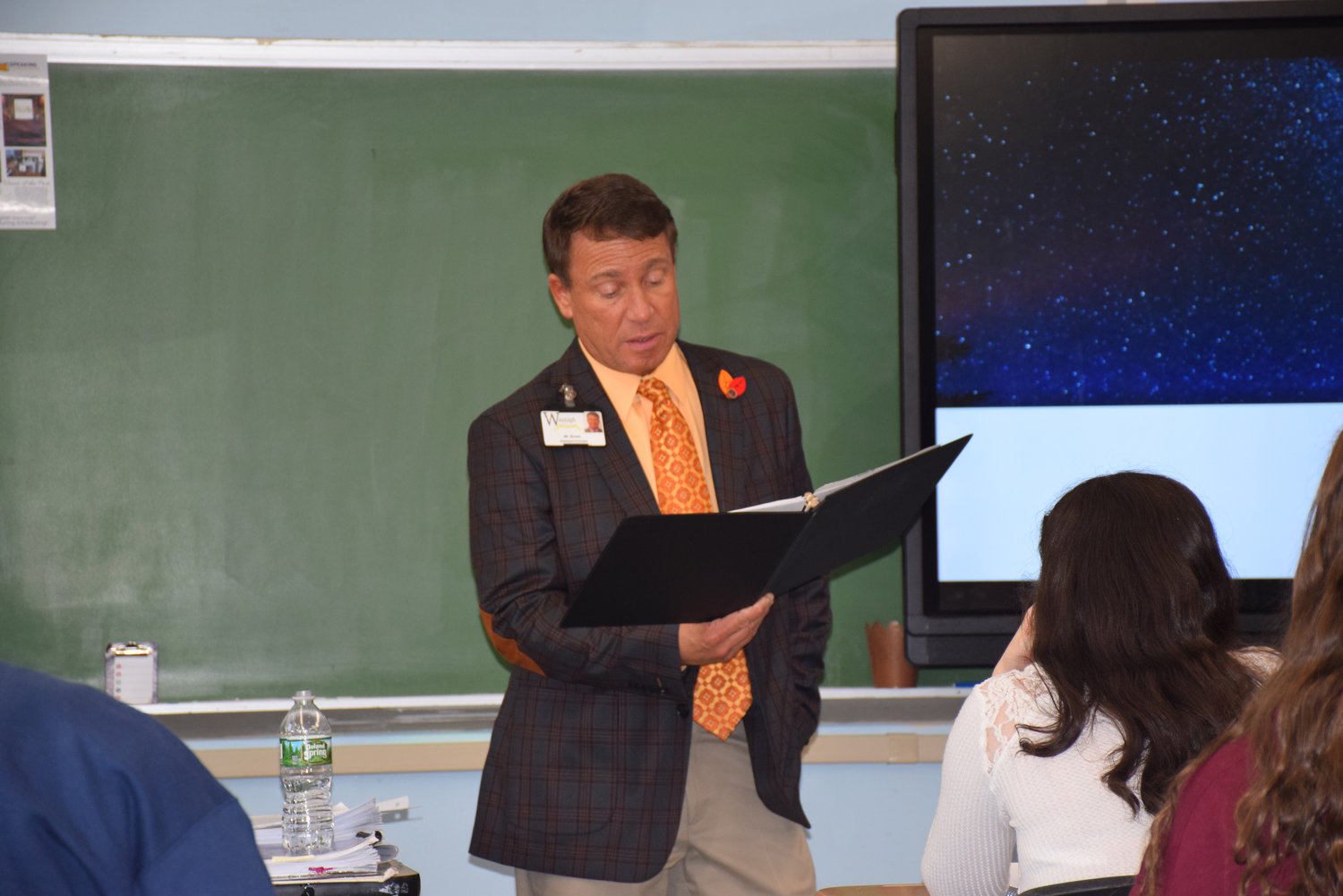 Wantagh High School Assistant Principal James Brown, an experienced actor, read from Shakespeare's sonnets.