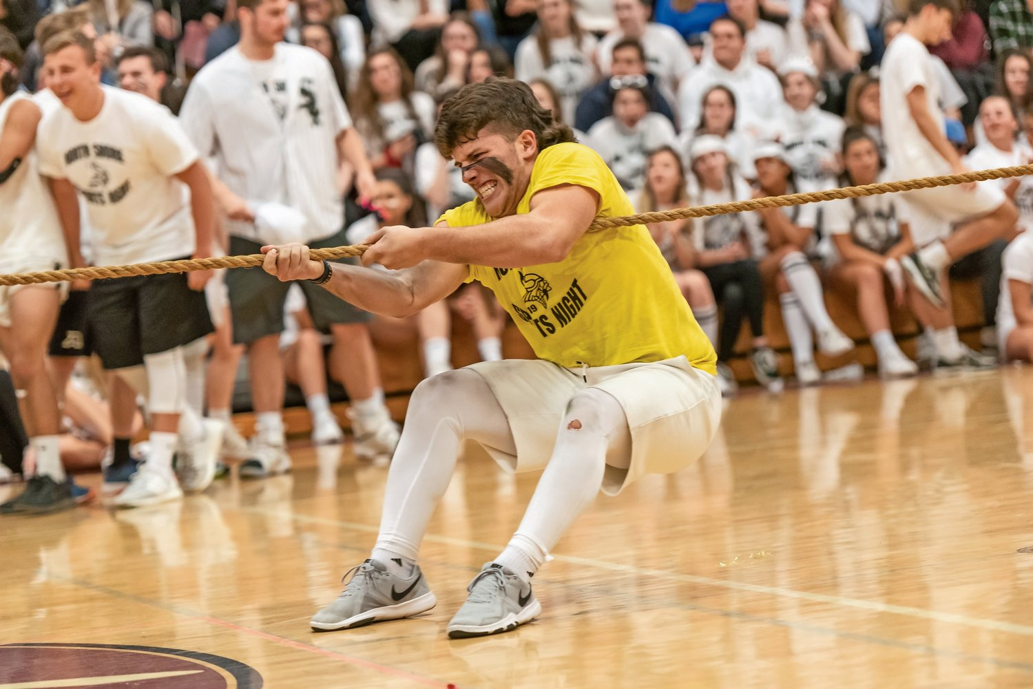 Junior Chris Damphouse was determined to win the tug of war.
