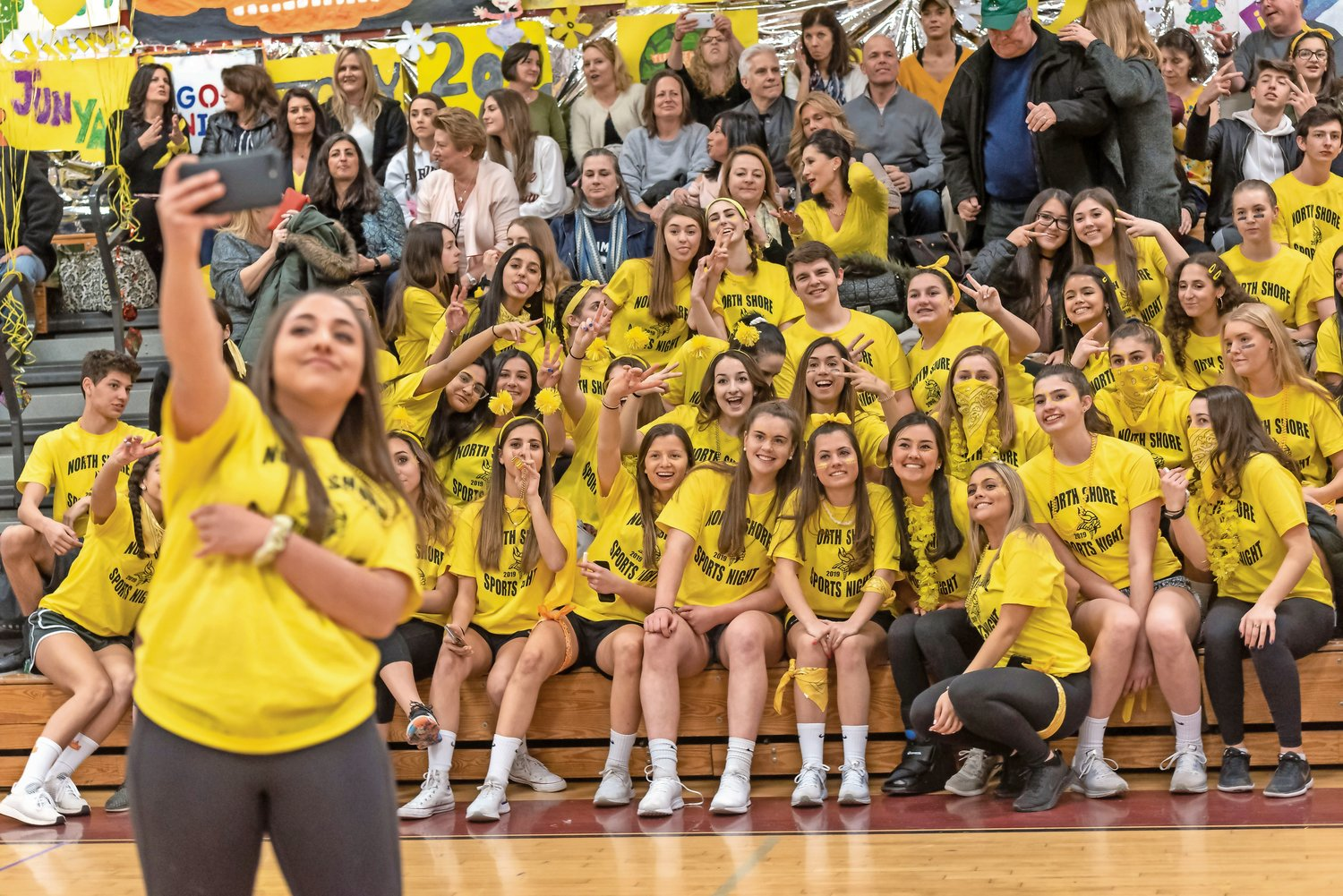 During a pause in the action at North Shore High School's annual Sports Night event on Feb. 28, the junior class took a group selfie, which captured all the fun and friendly competition the night had to offer.