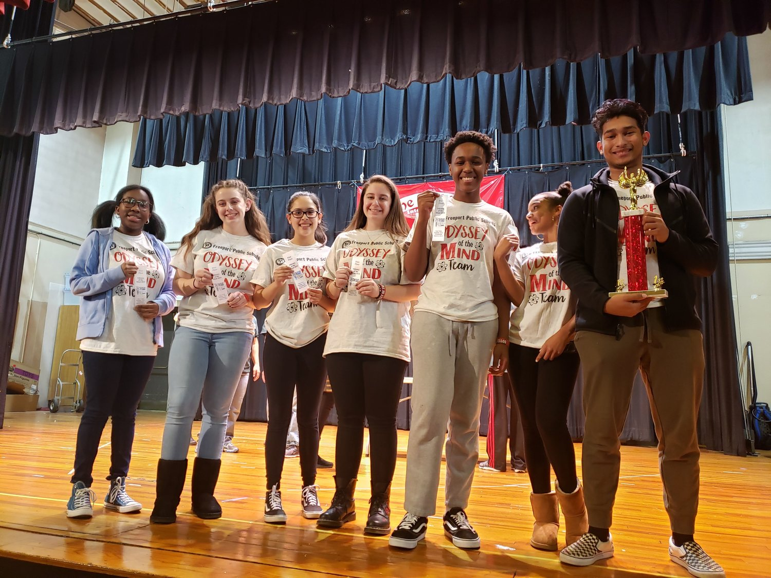 After placing first in one category at the March 2 Odyssey of the Mind competition, Freeport High School students will take part in the state competition later this moth.