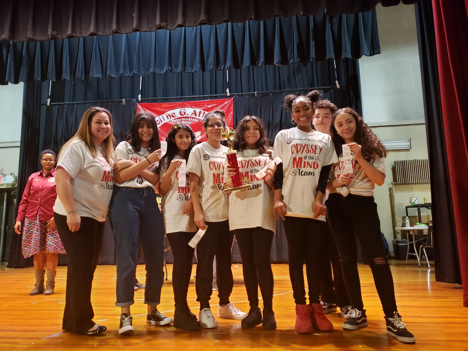 Caroline G. Atkinson Intermediate School students received the second-place trophy for their Opposites Attract Division II presentation.