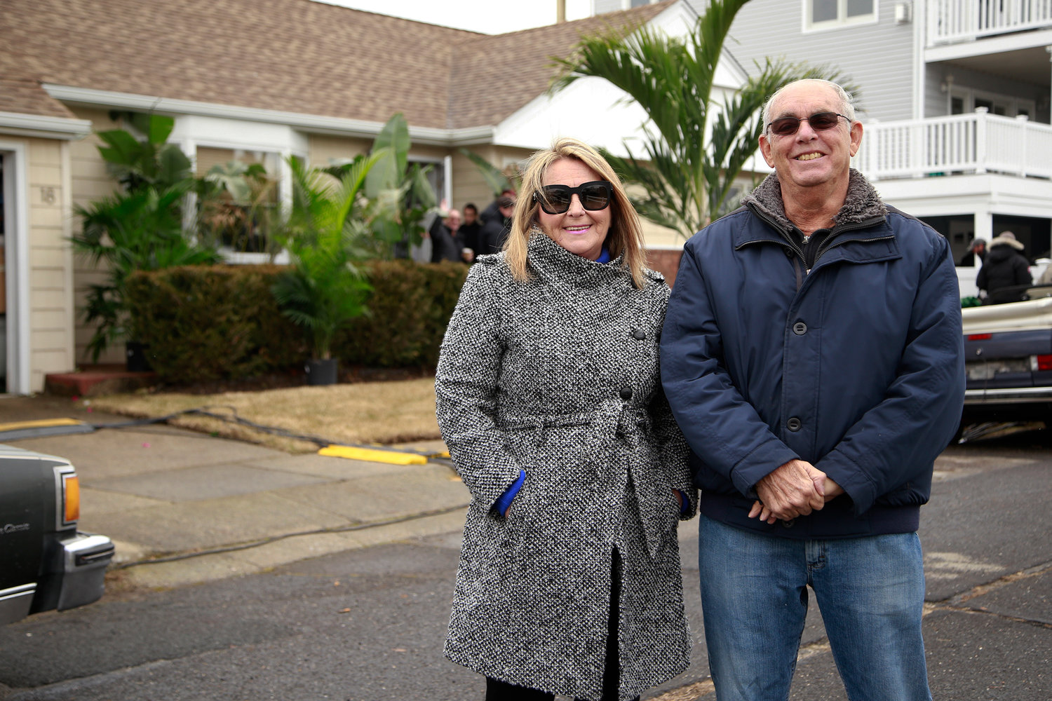 Joyce Coletti, a real estate broker at Douglas Elliman, with Steve Rothman, the owner of a home where a film crew shot a scene for a new Showtime series that will air in the summer.