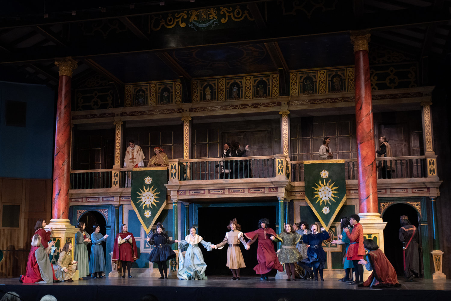 The cast in action, performing on Hofstra's Globe Stage replica.