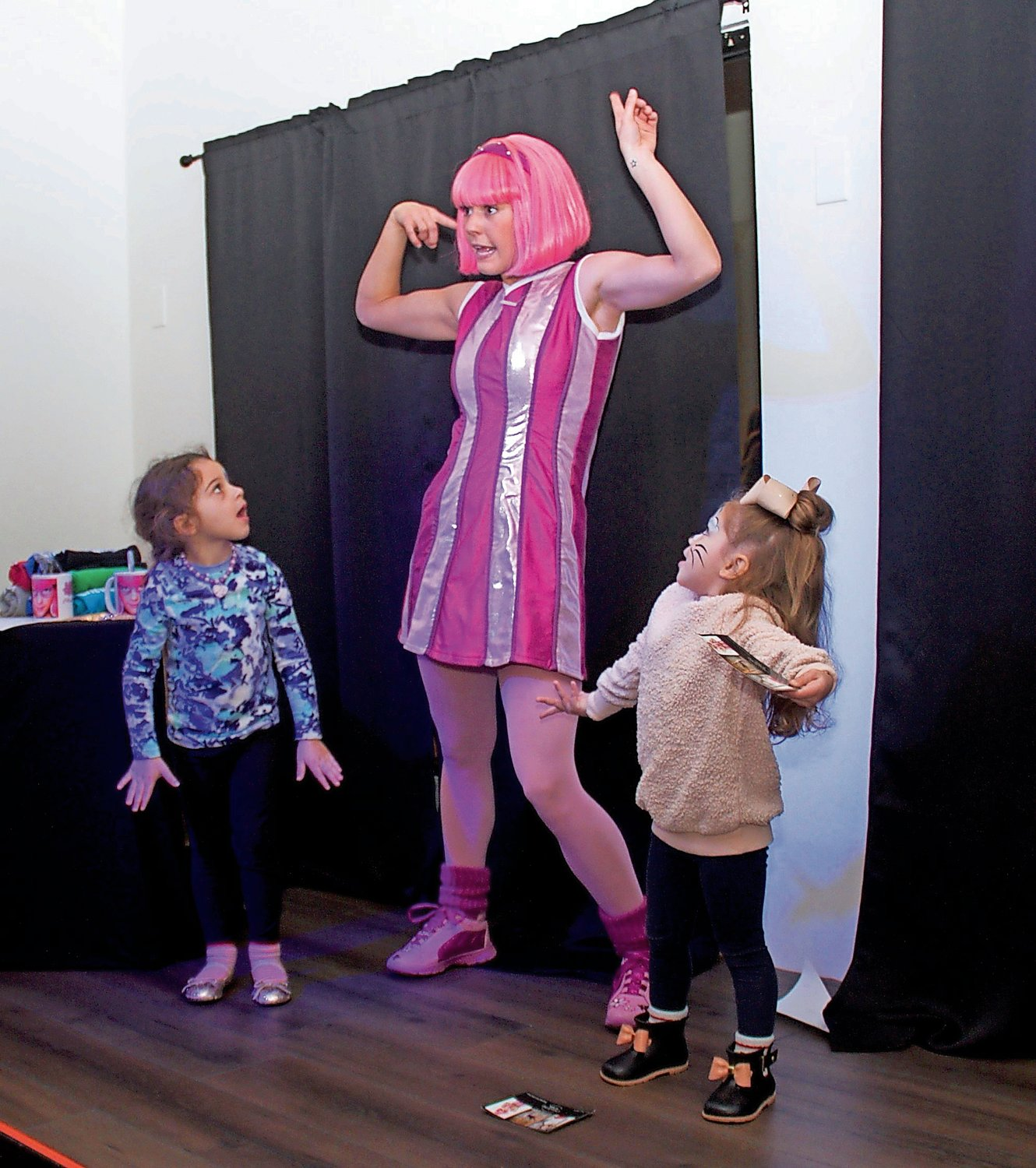 "Chloe Lang, who portrayed Stephanie in Nickelodeon's ""Lazytown,"" shared a few of her dance moves from the show with 3-year-olds Mackenzie Cali and Charlotte Henn."