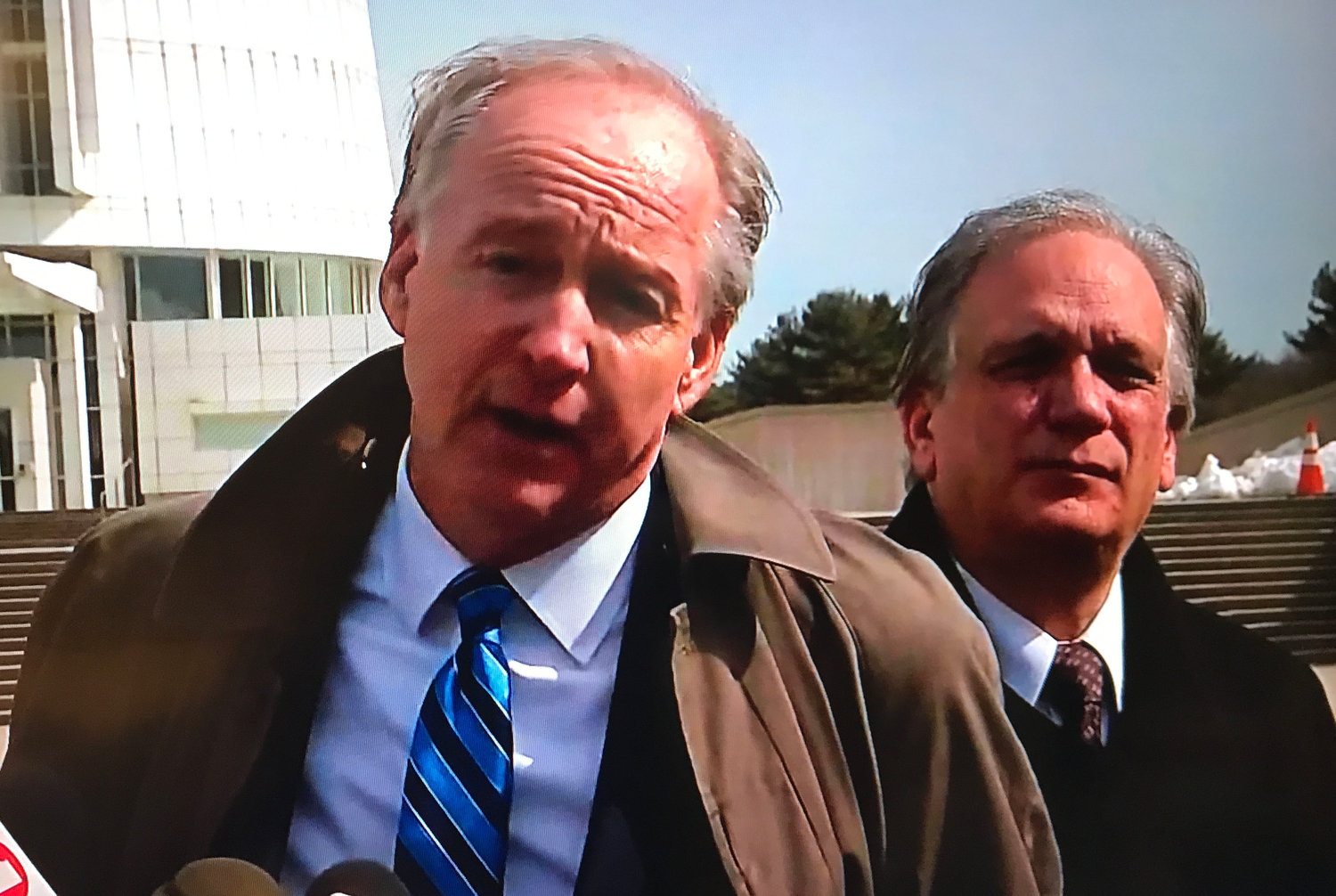 Former Nassau County Executive Ed Mangano's attorney Kevin Keating addressed reporters outside federal court in Central Islip after Mangano and his wife, Linda, were found guilty of multiple corruption charges at their second trial.