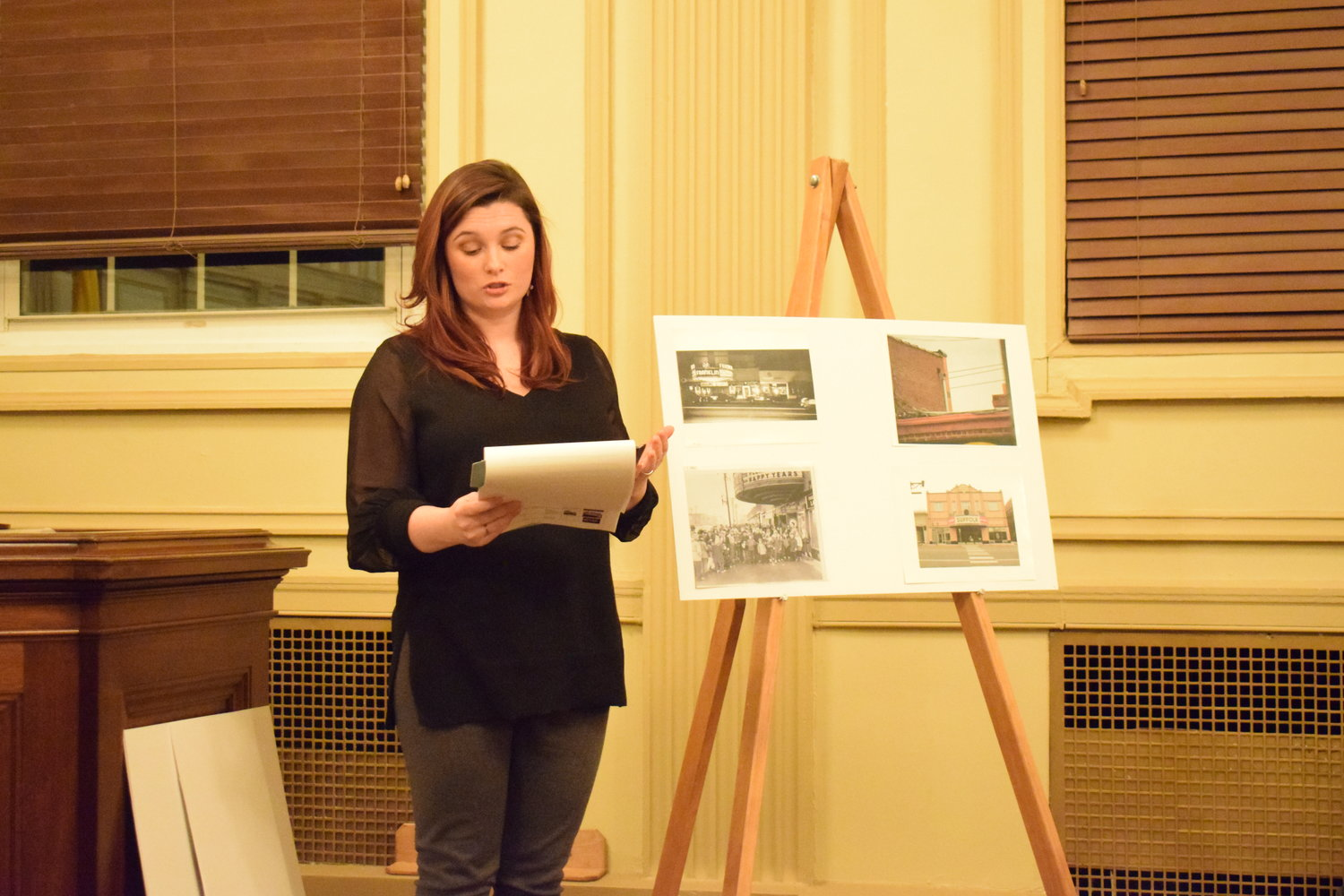 Franklin Square Civic Association member Katherine Tarascio made her case for the theater building to be considered for landmark status by the Town of Hempstead on Feb. 26.