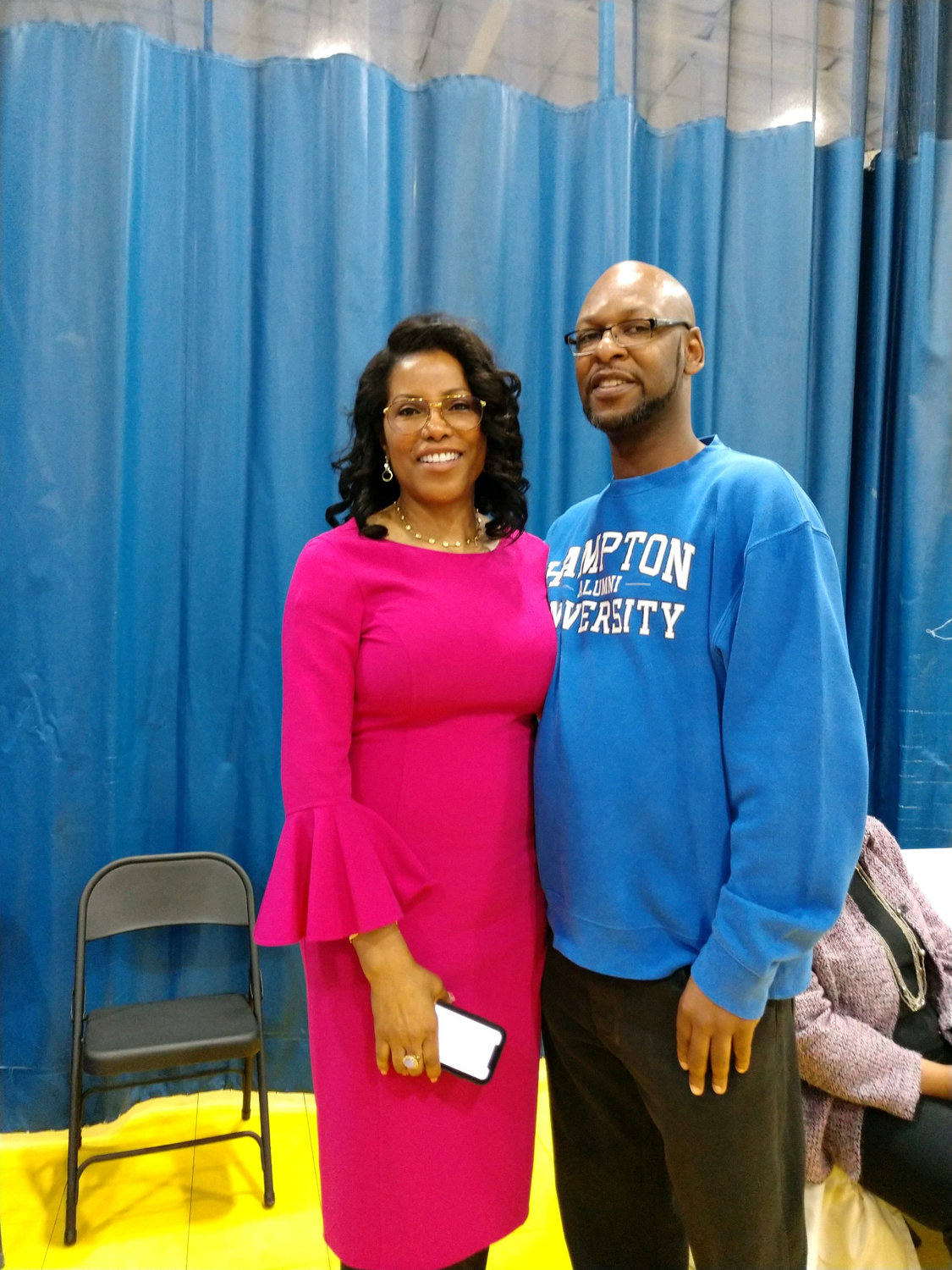 Ilyasah Shabazz and Long Beach resident Marcus Tinker, a deacon at Christian Light Missionary Baptist Church.