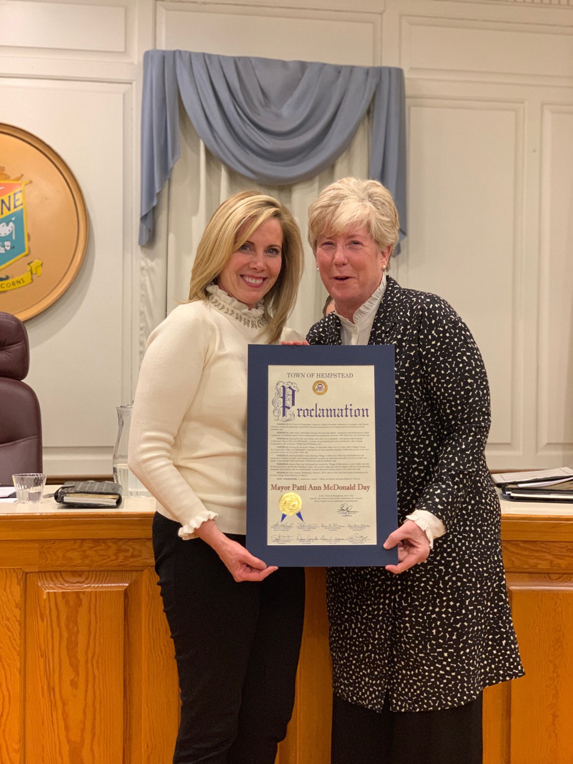 Town Supervisor Laura Gillen, left, presented a citation to McDonald and proclaimed March 6 Patti Ann McDonald Day.