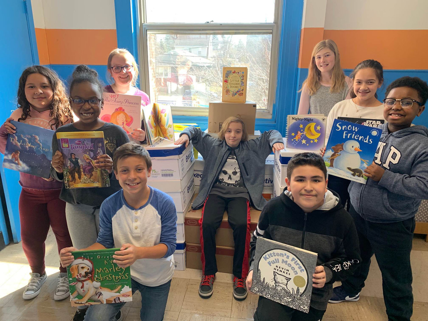 Students at Davison Avenue Intermediate School collected books to benefit The Book Fairies last month.