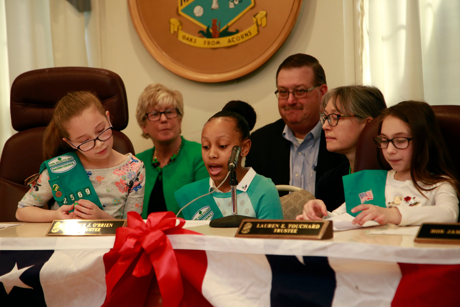 Angelina Dalmazio, left, sat next to Troop 2569 Leader Penny Jacobus.