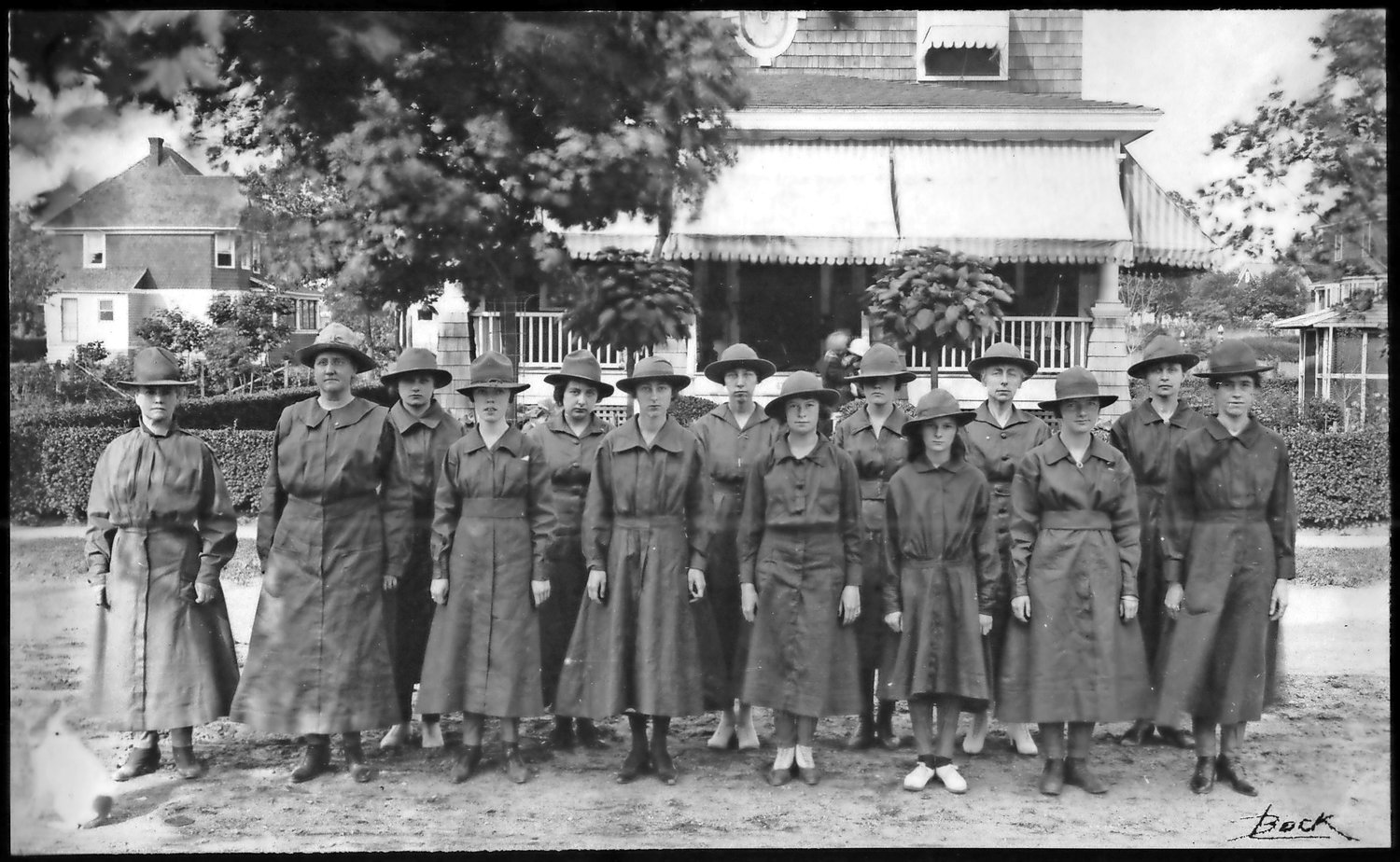 This is the first known photograph of Girl Scouts in Nassau County. The troop, records show, was based in Lynbrook.