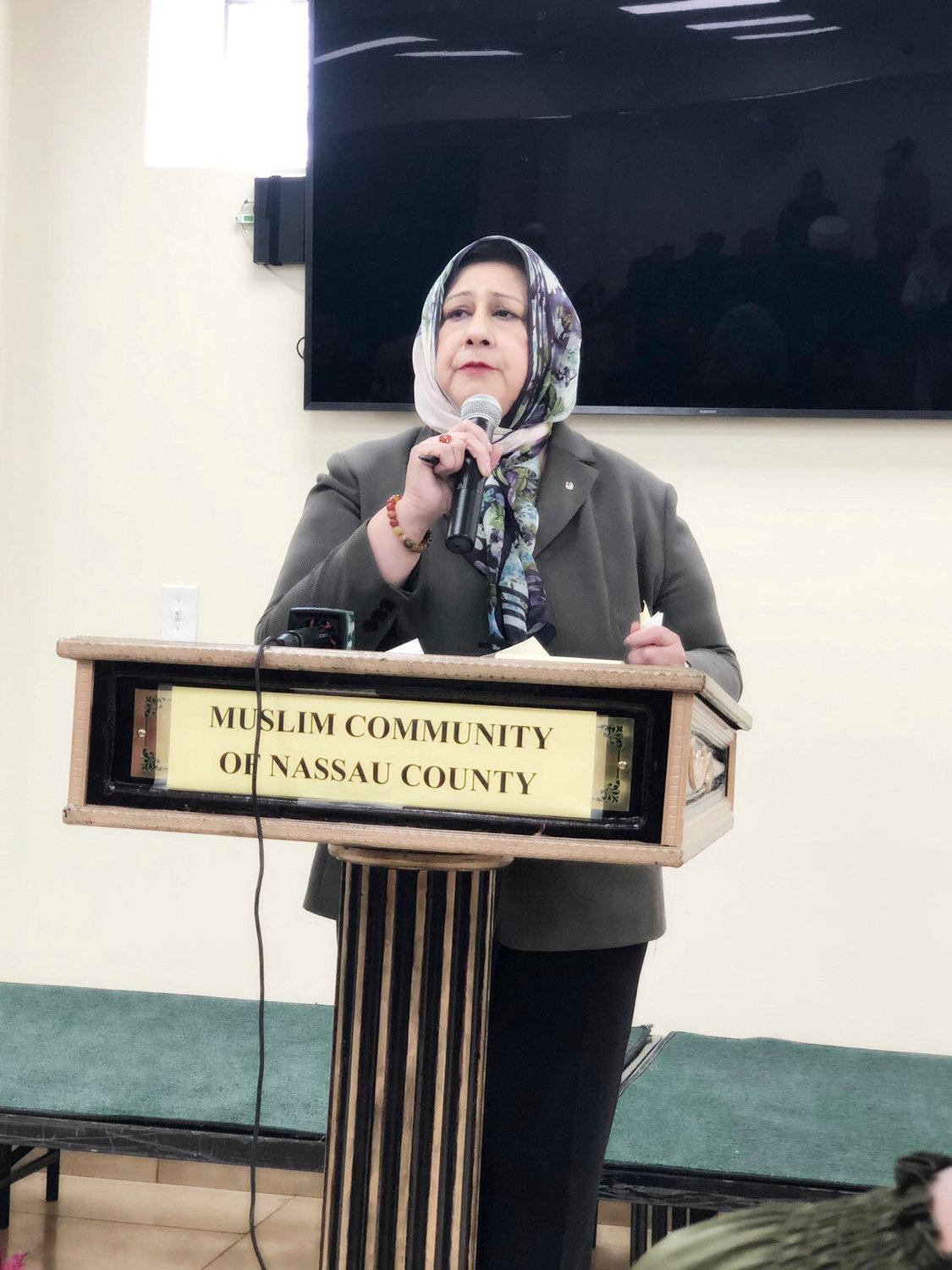Dr. Isma Chaudhry, chairwoman of the Islamic Center of Long Island spoke to a crowd of roughly 100 on March 5 to condemn a recent instance of Islamophobia in West Virginia.