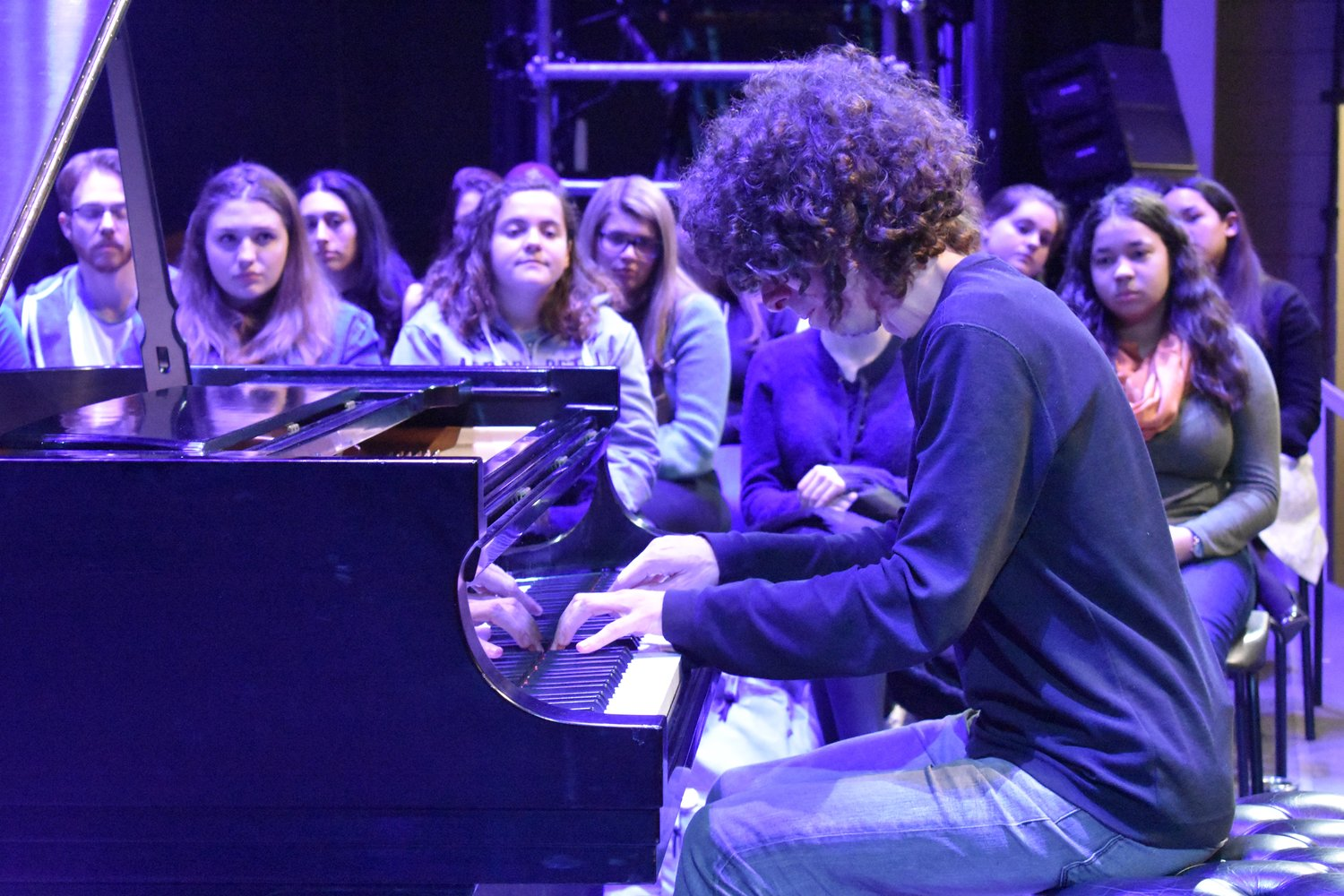 Professional pianist Julian Gargiulo stopped by Molloy College's Madison Theatre on March 7 to speak to students before his evening performance there.