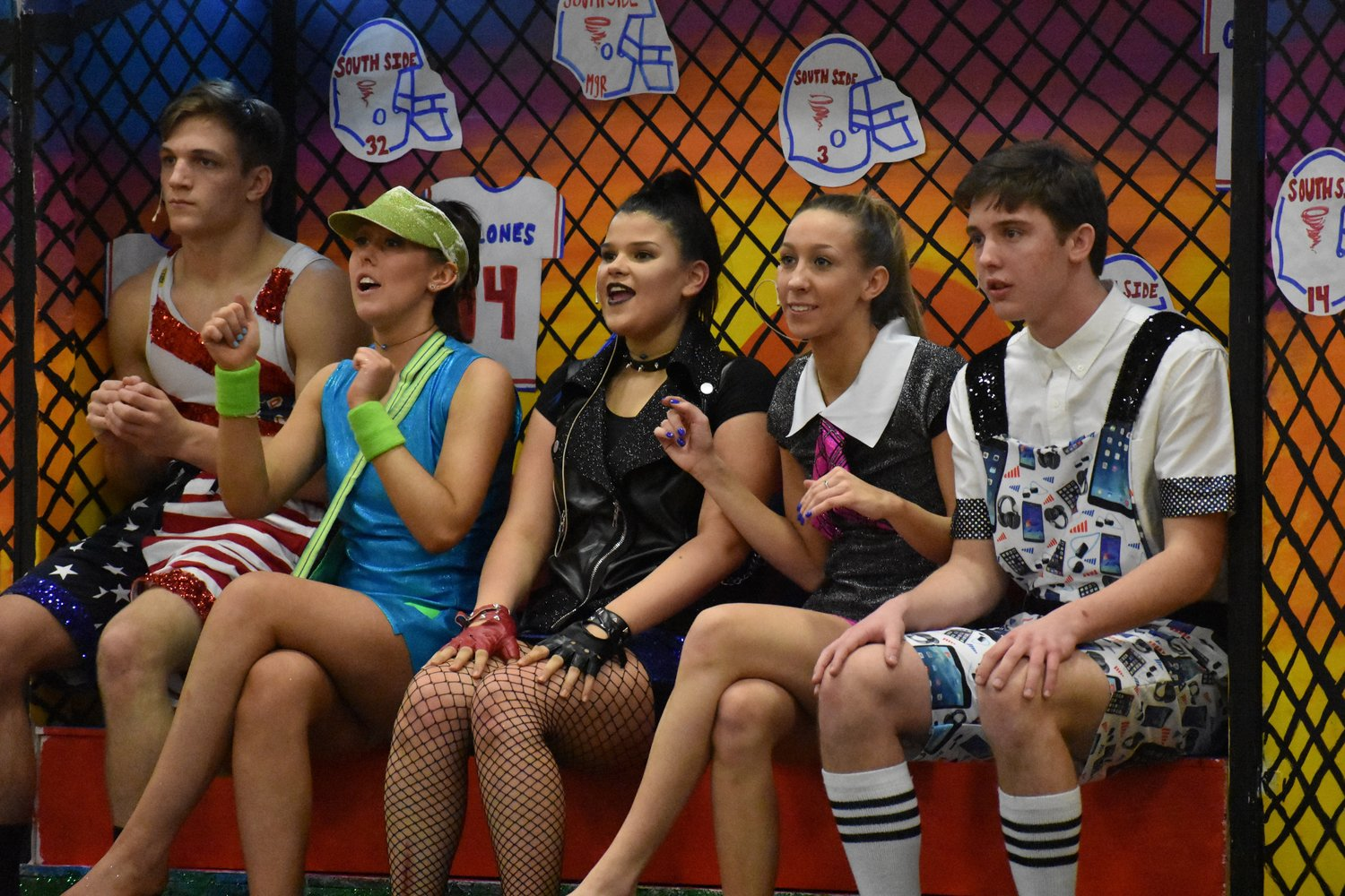 Kyle Mosher, far left, Ciara Byrne, Winnie Chiffriller, Allie Gallego and James Hennessey starred in the Blue Team's skit.