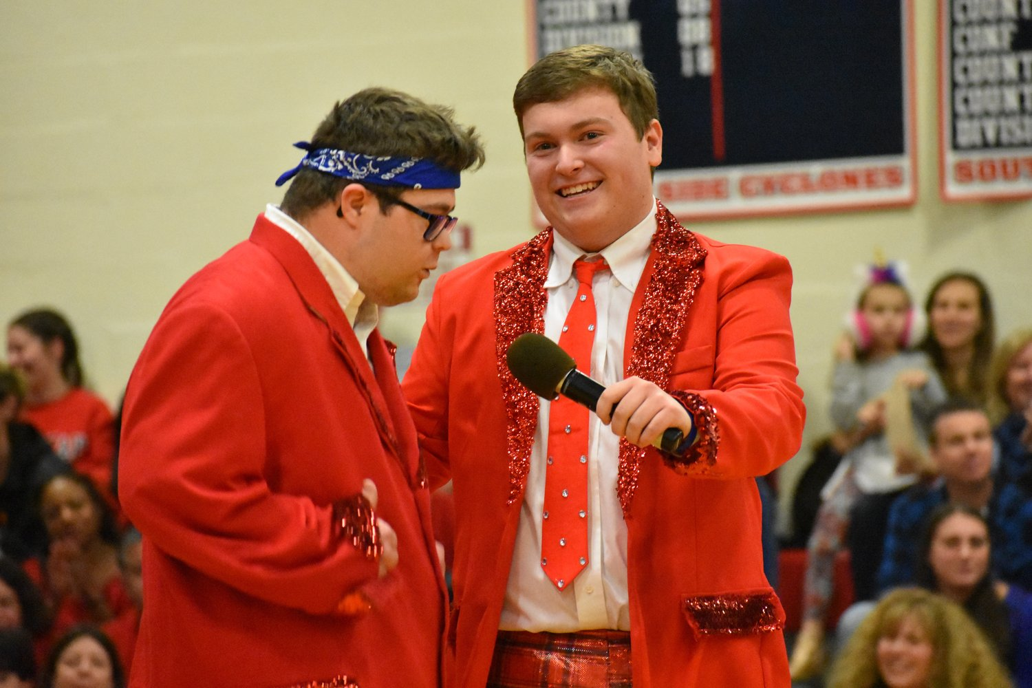 Connor Barry, left, and Bobby Leake, in Blue's skit.
