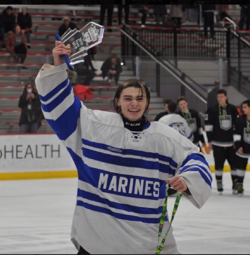 Goaltender Kieran Byrne backstopped Long Beach High School to its first state hockey championship in seven years on March 3. Byrne, an Island Park resident, was named Most Valuable Player for the tournament.