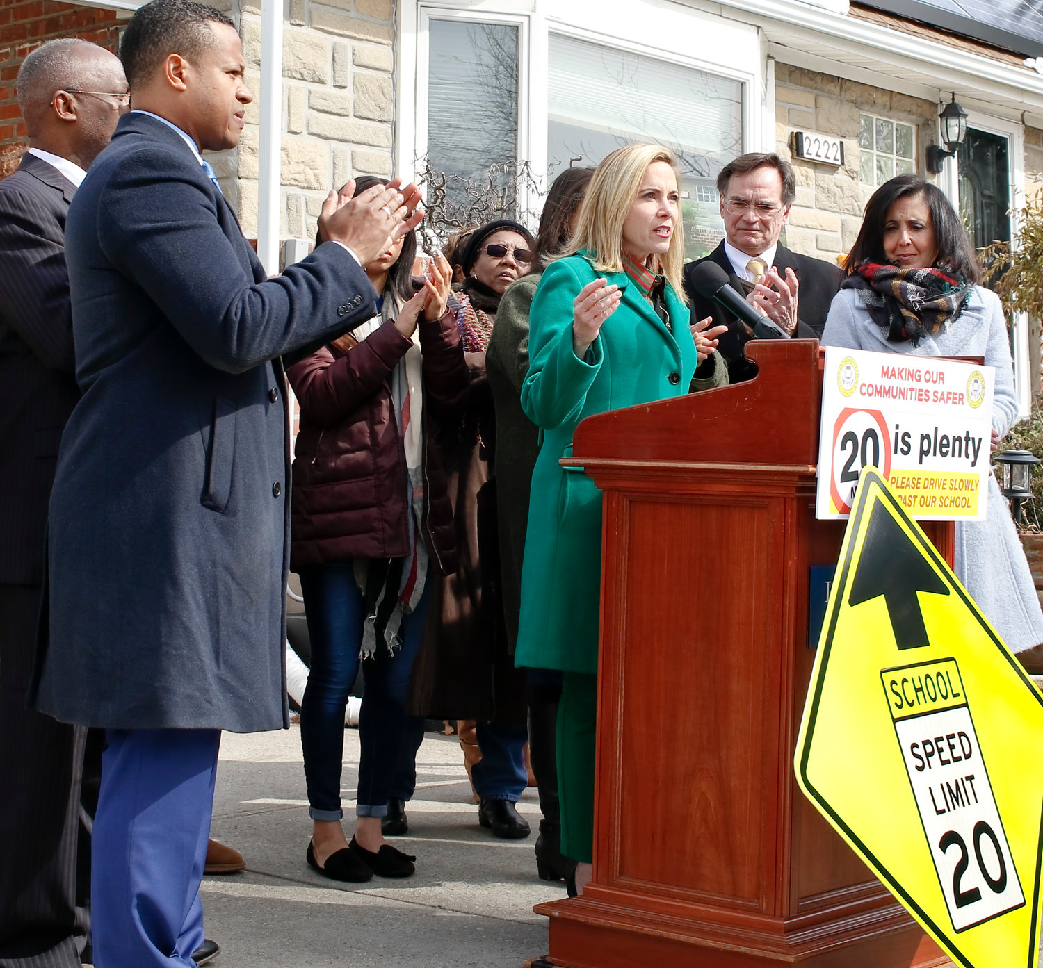 Local officials and residents joined Town of Hempstead Supervisor Laura Gillen in calling for a school zone designation on Dutch Broadway between Astor Street and Elmont Road.
