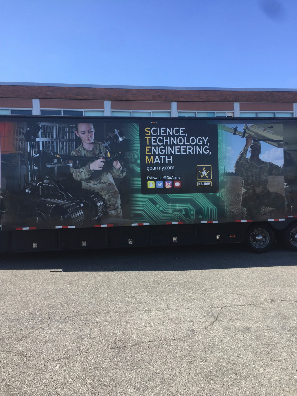 The students at Lawrence High School got to take a break from the clasroom when the U.S. Army's STEM truck made an appearance at the school.