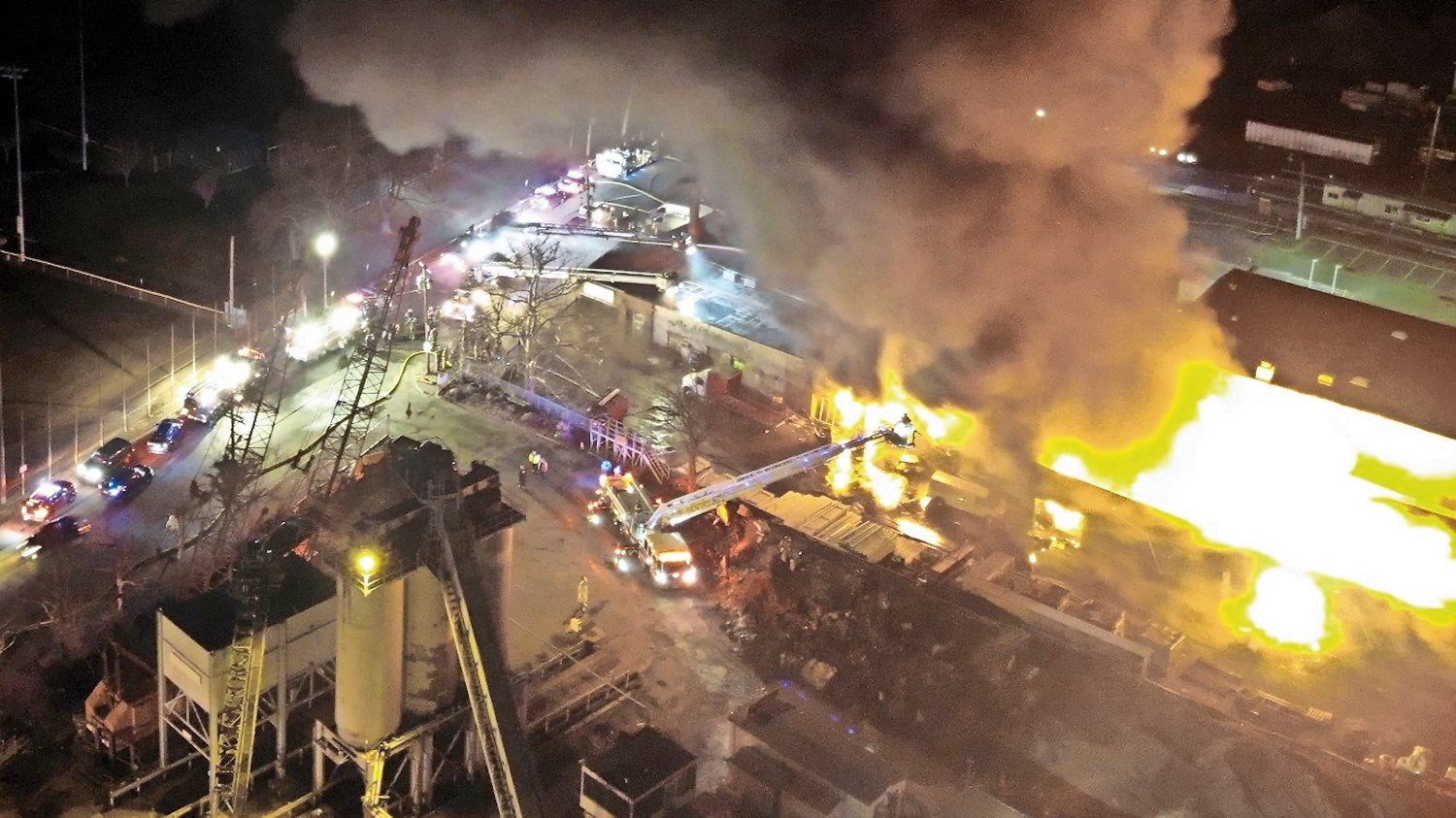Drone footage revealed the intensity of the blaze.