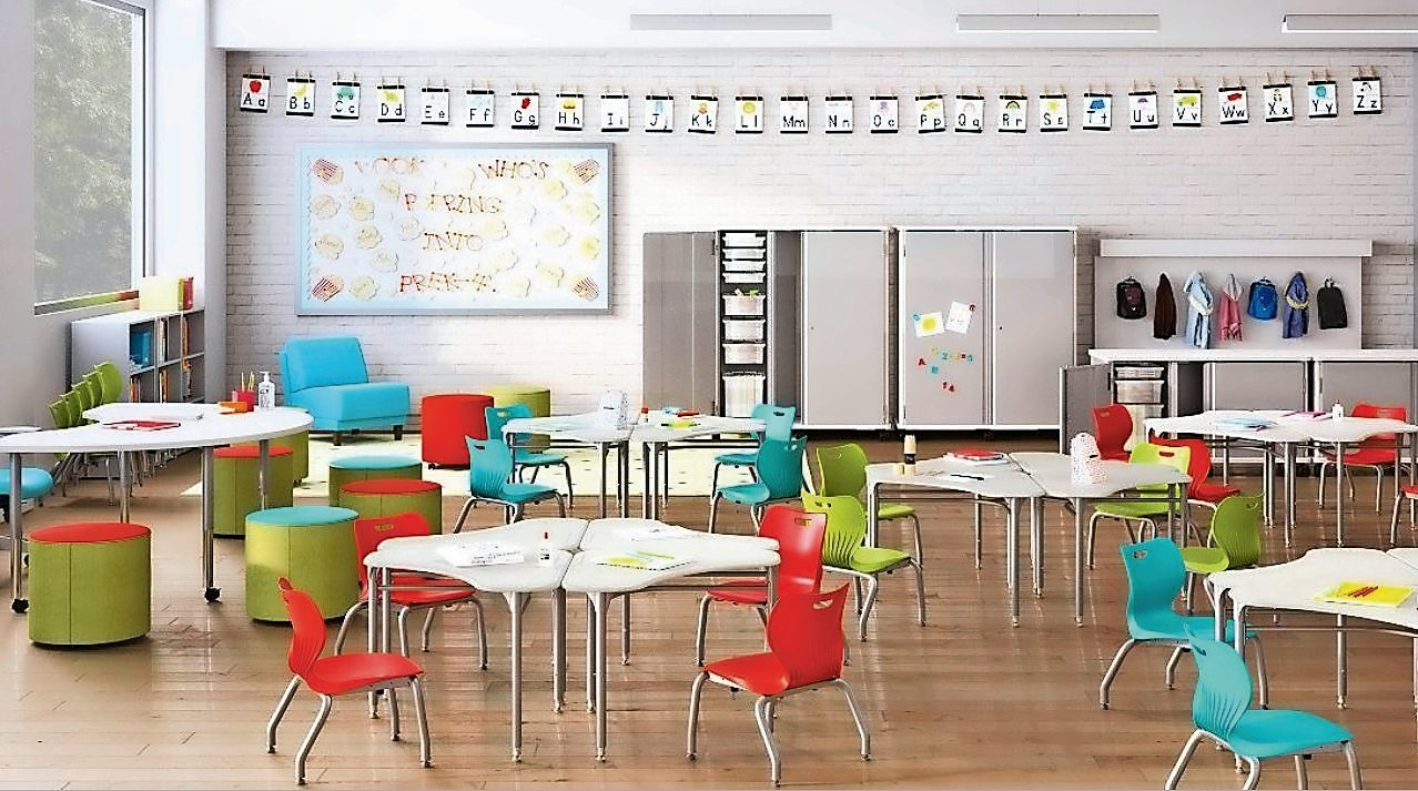 A rendering of a modern elementary-level classroom, which can be customized for lectures, group or individual work.